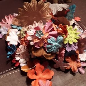 Flower Embellishment Paper/Fabric Mix